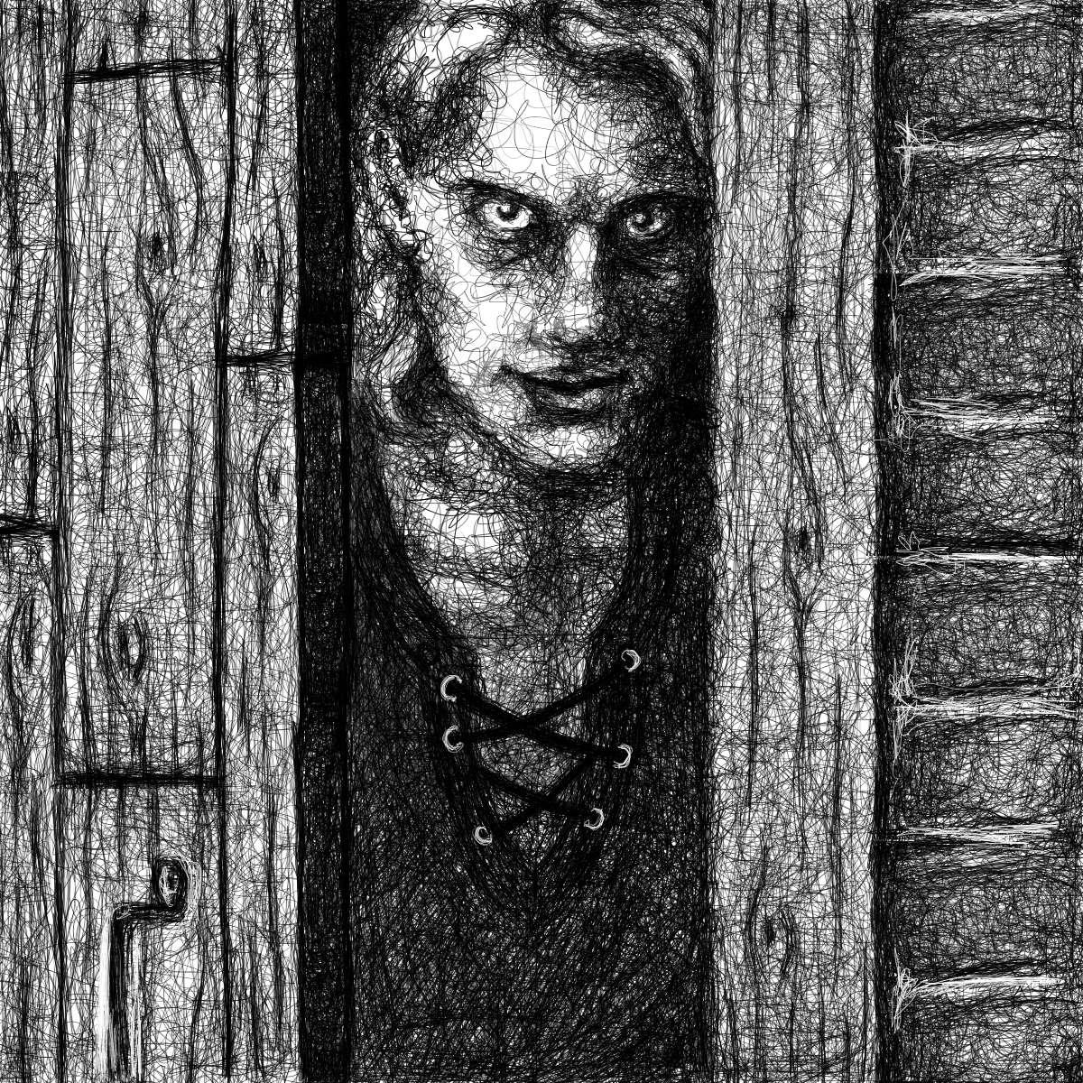 Michael Stauner - Angriff der Vampire: Tabor at door (illustration of book scene)