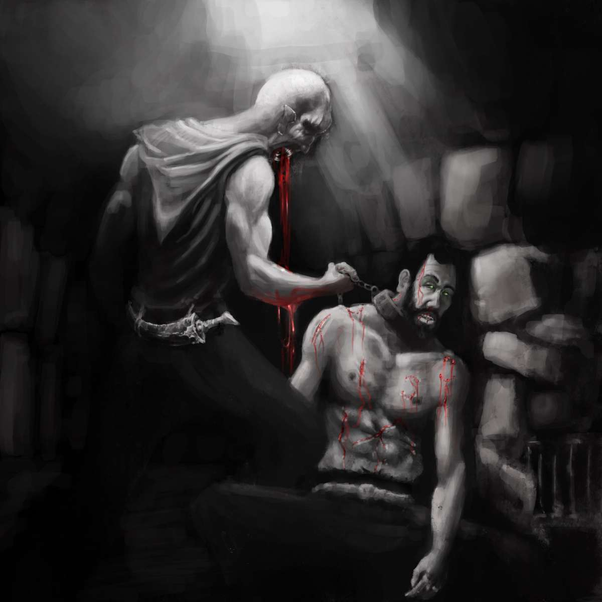 Michael Stauner - Krieg der Vampire: Falbyr in the dungeon (illustration of book scene)